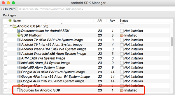 SDK manager下载源码